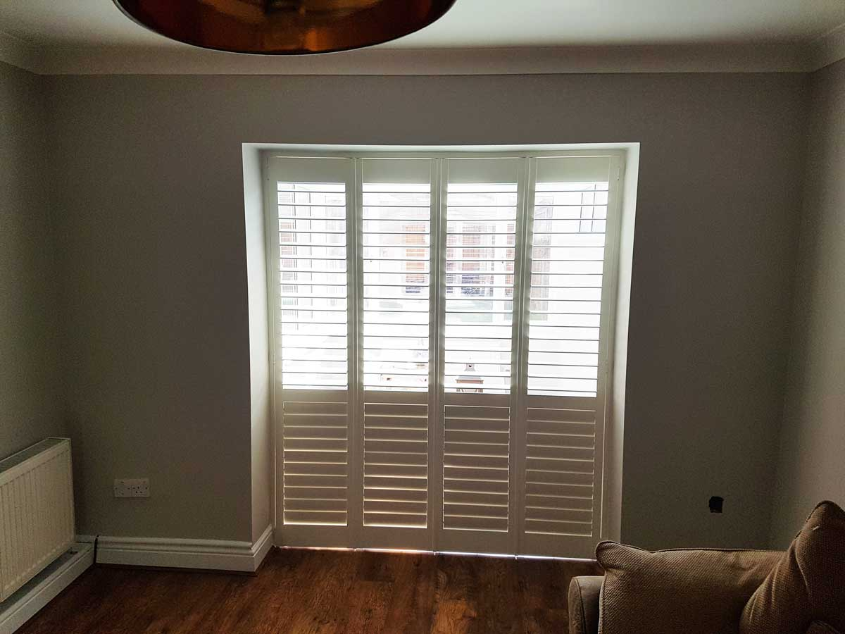 Room Dividers Designed With Plantation Shutters For Living